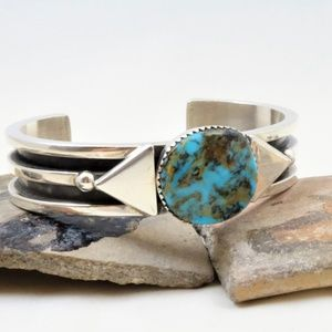 Navajo Sterling Natural Turquoise Cuff-Signed